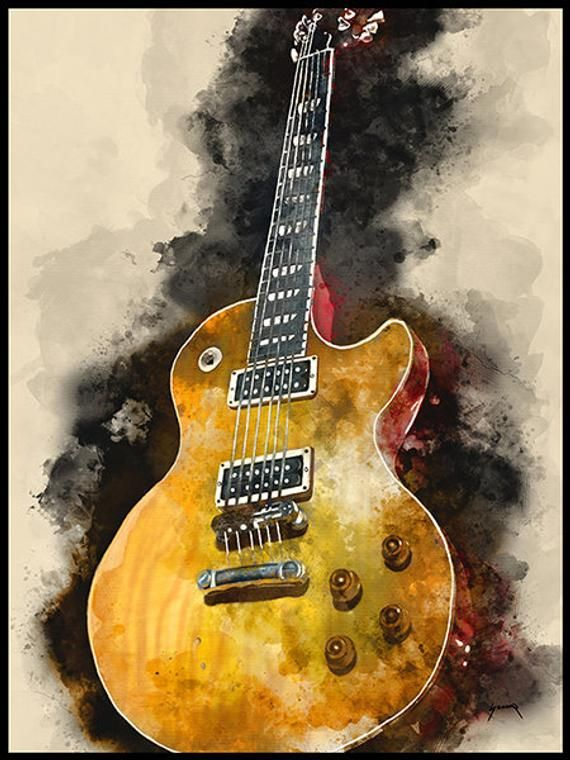 Old Guitar 12x16 Hand Painted Guitar Art Unique Gift