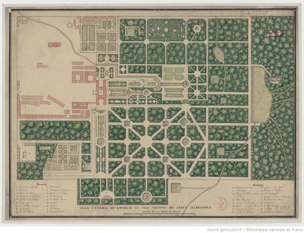 Plano de los jardines de la Granja 1725. Segovia.
