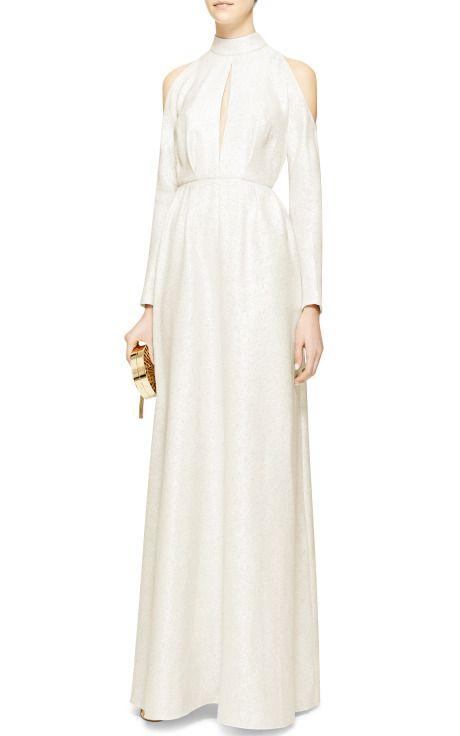 Metallic-Jacquard Cold-Shoulder Gown