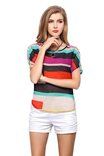 Vobaga Women's Short Bat Sleeve Striped Hit Colors Chiffon T Shirt Tops Blouse S Ninimour http://www.amazon.com/dp/B00J8B5Q4C/ref=cm_sw_r_pi_dp_GFV4tb1N171CC