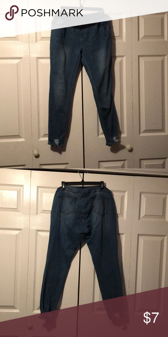f986792b8ce Maternity Jeans Great condition! Only worn once. Navy blue band. Size  large. No stains or tears. Distressed at the bottom from both sides. Angel  Kiss Jeans ...