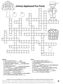 Johnny Appleseed Activities, Crossword Puzzle, Word Search