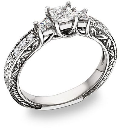 "ApplesofGold.com - 3/4 Carat Three Stone Princess Cut ""Floret"" Diamond Ring Wedding Jewelry $1,625.00"