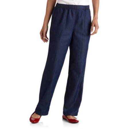 7855691a9a028 White Stag Women's Elastic Waistband Woven Pull-On Pants available in  Regular and Petite, Size: Large, Blue