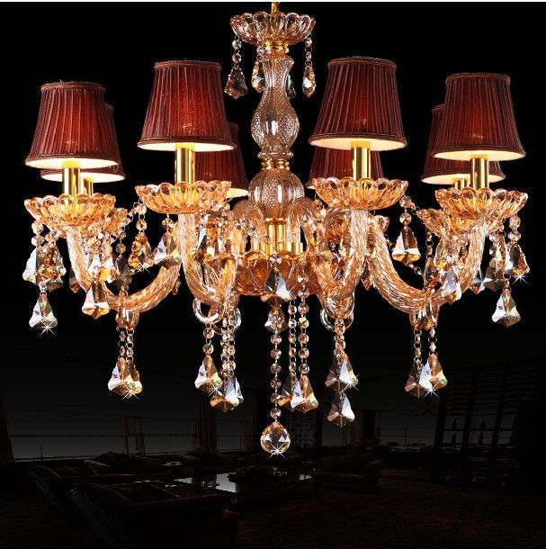 Top K9 Champagne Gold Crystal Light Lighting Classic Candle Chandelier Fixture With Wine Red Fabric
