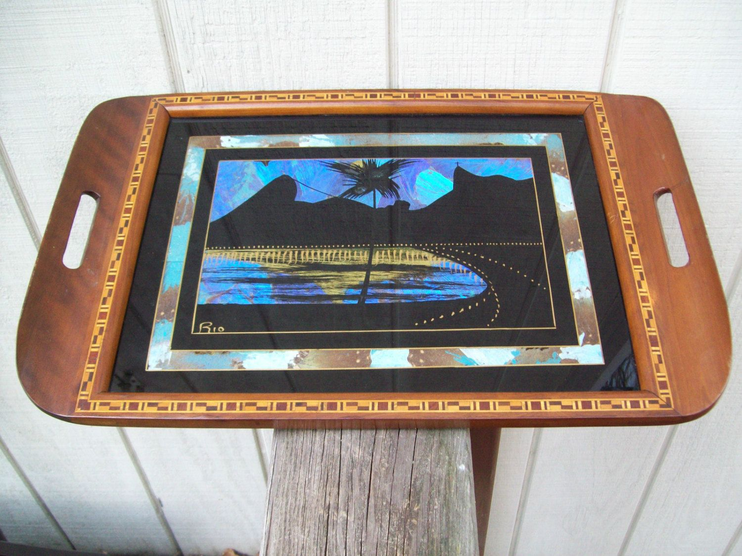 Vintage Rio De Janeiro Inlaid Wood Serving Tray Real Butterfly Wings 1940's. $19.00, via Etsy.