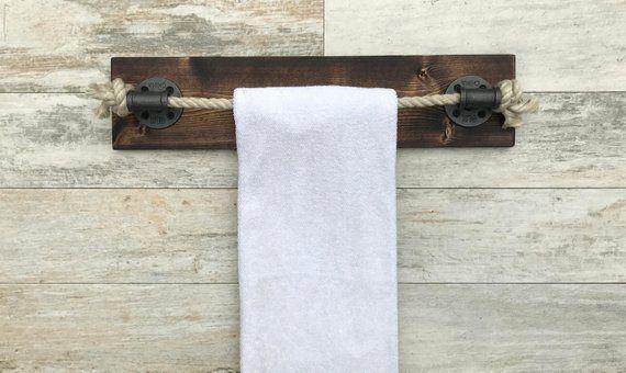 Photo of ESPRESSO Rope Towel Holder, Nautical Design, Towel Bar, Towel Rack, Black Rope, Bathroom Fixt…