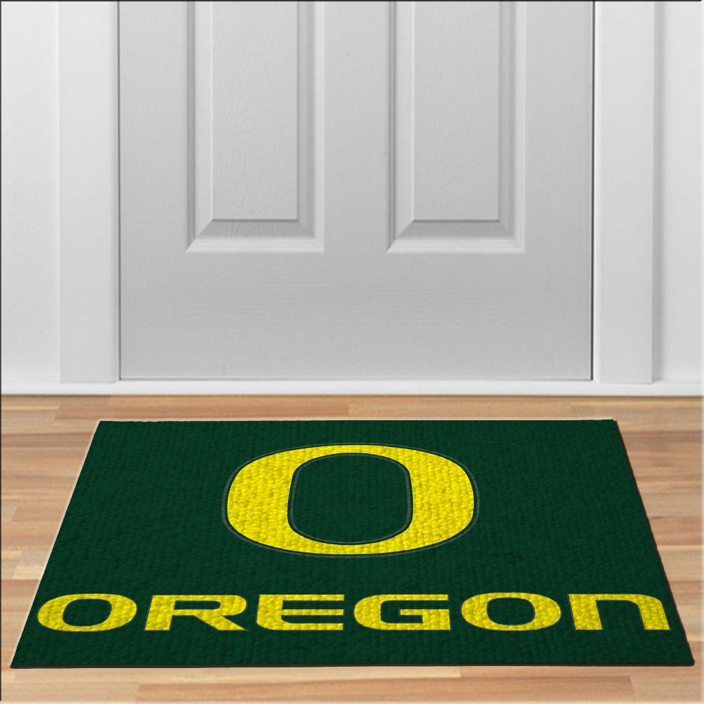 Nice Oregon Ducks Logo Rug Football NCAA Collage Floor Durable Door Mat  Non Slip