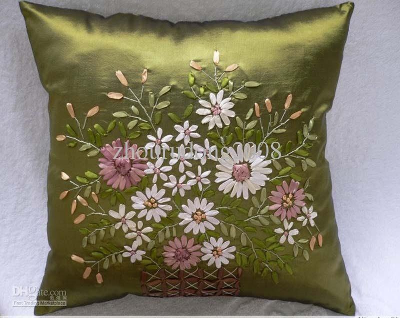 Ribbon hand embriodered pillows wholesale finished