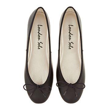 Black Leather Ballet Flats   Black