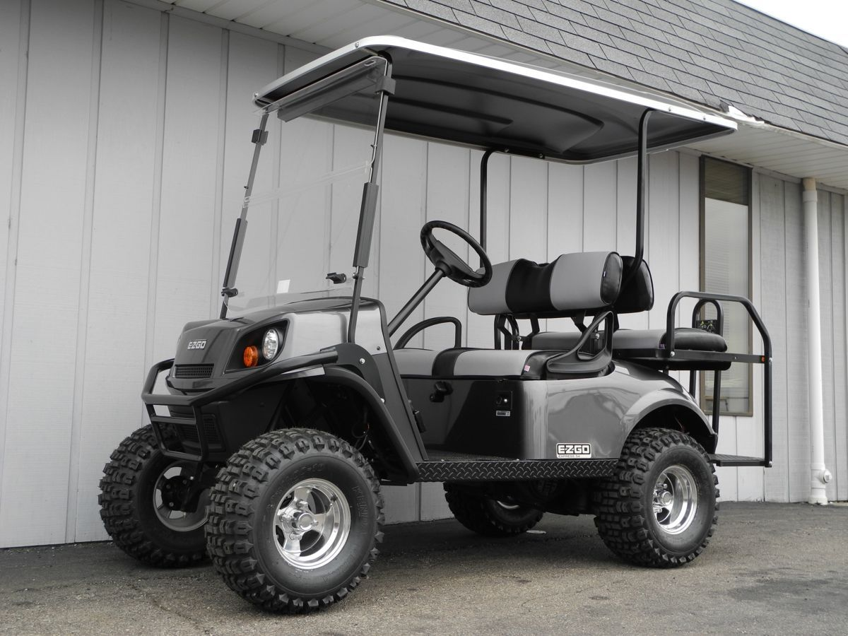 We Just Finished Prepping This Gorgeous Brand New 2015 E Z Go Express S4 Custom Gas Golf Car This Thing Looks Great With The Charcoal Golf Car Golf Carts Car