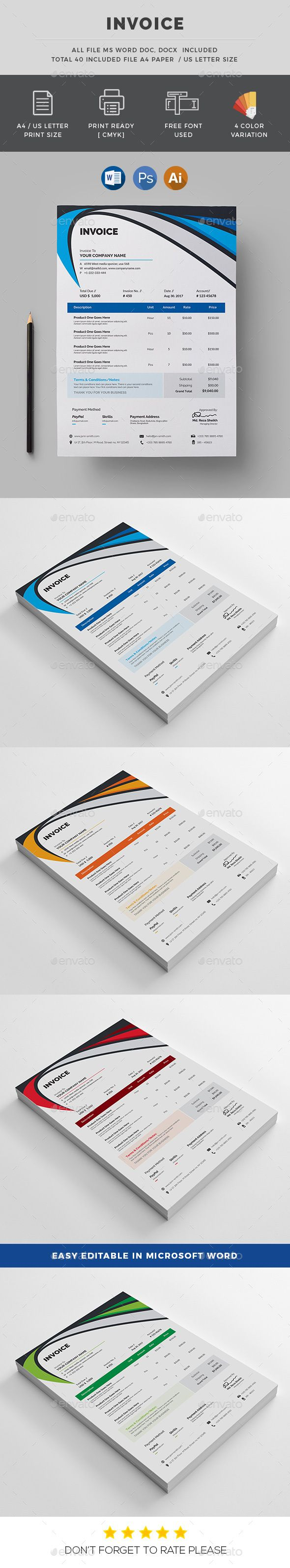 proposal template for word%0A  Corporate Invoice Template   Business  Invoice  Stationery Print  Template   Design