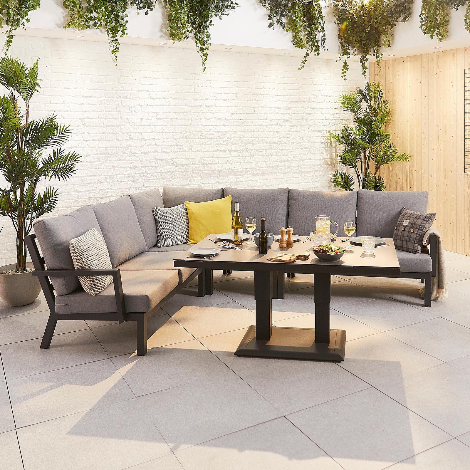 Vogue Aluminium Casual Dining Corner Sofa Set With Rising Table Aluminium Garden Furniture Corner Dining Set Corner Sofa Set [ 1600 x 1600 Pixel ]