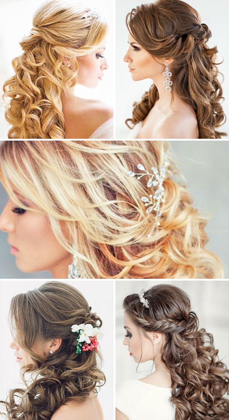 Half up half down wedding hairstyles these elegant curly wedding