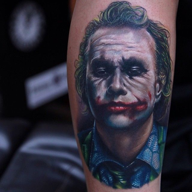 Realistic Heath Ledger Joker Tattoo Joker Tattoo Joker Face
