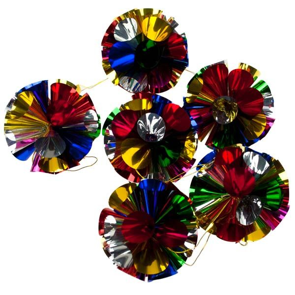Nostalgic Christmas Decorations: Multicoloured Foil Honeycomb Hanging Ball
