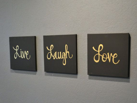 Live Laugh Love Canvas Wall Art Paintings 3 Piece Value Pack Wall Hangings Black Gold Modern C Metal Tree Wall Art Love Wall Art Metal Wall Decor Living Room