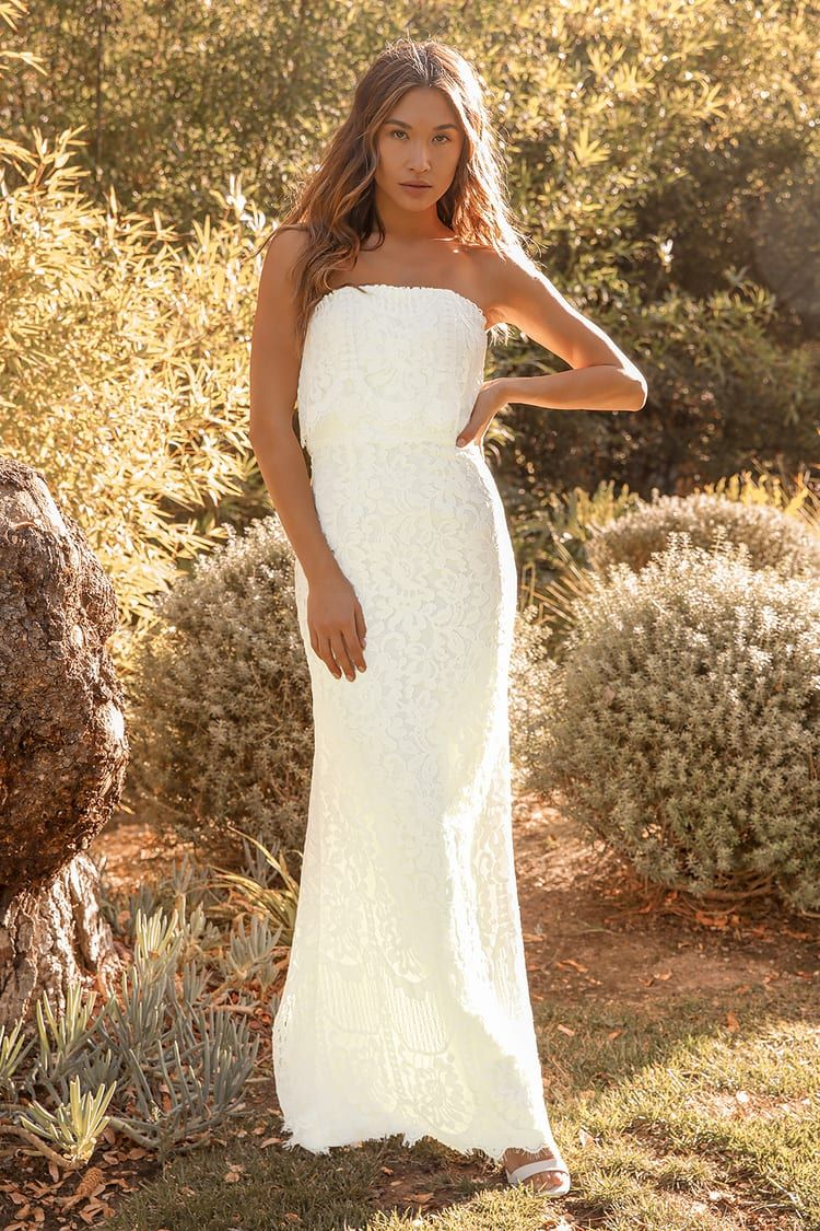 Promise Your Love White Strapless Lace Maxi Dress White Lace Maxi Lace Beach Dress Maxi Dress [ 1125 x 750 Pixel ]