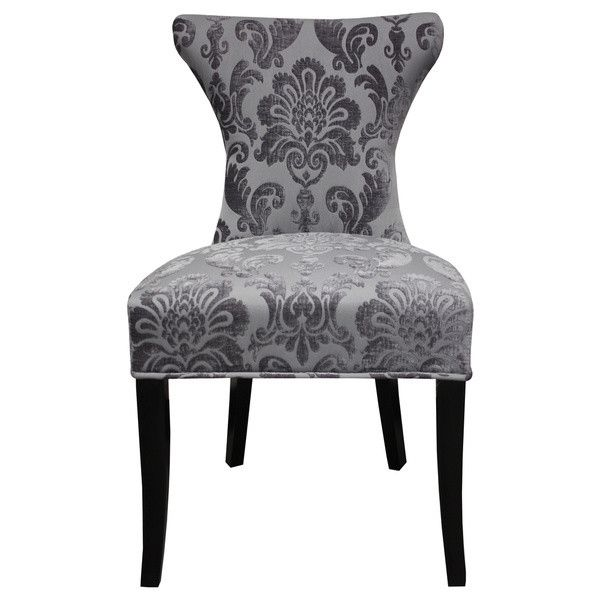 Hd Couture Cosmo Grey Fan Damask Dining Chair 380 Liked On Polyvore Featuring Home Furnitu Patterned Dining Chairs Colored Dining Chairs Grey Side Chairs