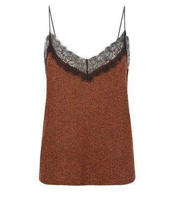 Rust Fine Knit Lace Trim Cami