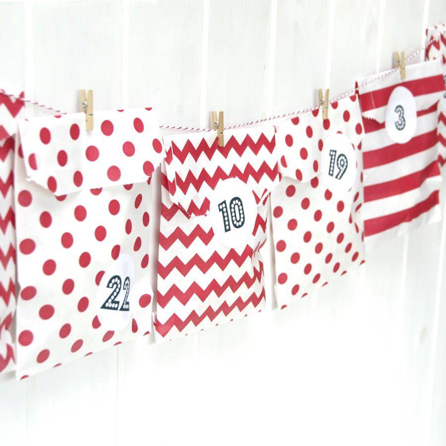 Advent Calendar Red Paper Bag Kit