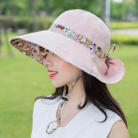 85bad39e560816 Summer wide brim sun hat for women UV protection bucket hats ...