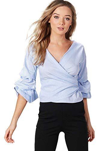 666bac203a Femmes Bleu cara chemise cache-cœur à rayures et manches volantées - 8:  Amazon