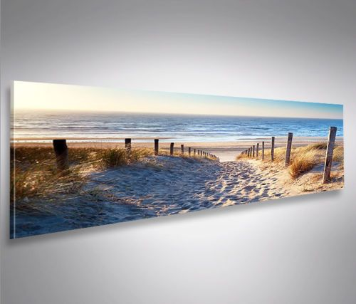 details zu weg zum meer nordsee strand panorama format bild auf leinwand wandbild poster. Black Bedroom Furniture Sets. Home Design Ideas