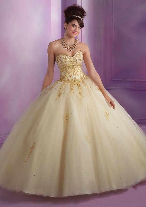Hot Sale Sweetheart Appliques Long Gold Quinceanera Dresses Sweet ...