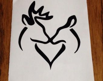 Deer Hunter Couple Vinyl Sticker Buck and Doe Heart Decal