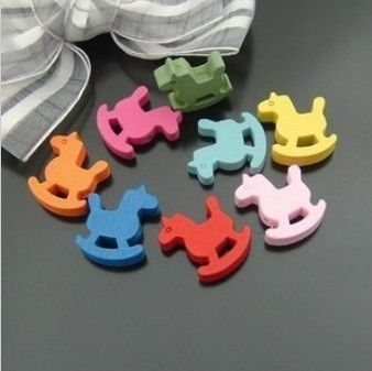 50pcs 19mm Colorful Wooden Beads Y873