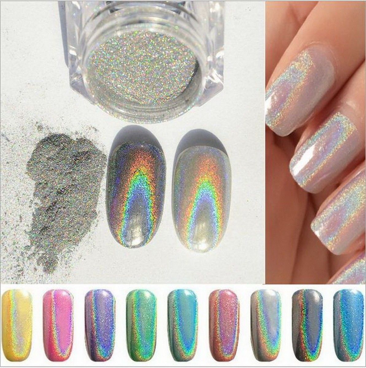 Extra Fine Holographic Chrome Nail Art Powder: Holographic Rainbow Nails Effects Ultra Fine Chrome Powder