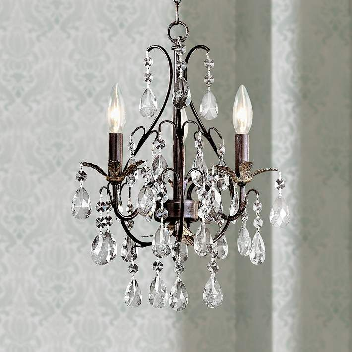 Castlewood Walnut Silver Finish 3 Light Mini Chandelier 83484 Lamps Plus