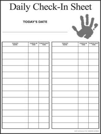 Nursery Sign In Sheet Daycare Forms