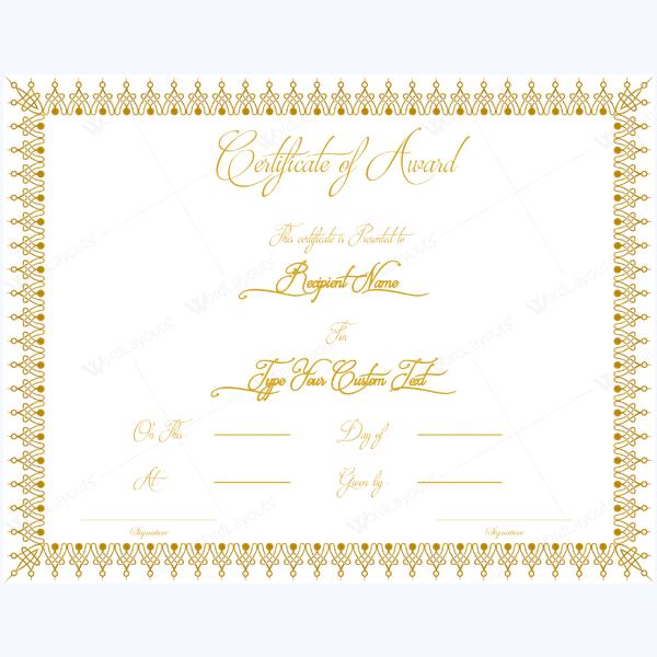 Free Award Templates For Word Award Certificate 20  Blank Certificate Certificate And Free Printable
