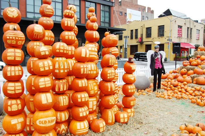 Stacks of pumpkins were carved to resemble the cityscape, a play on the event's theme of juxtaposition.