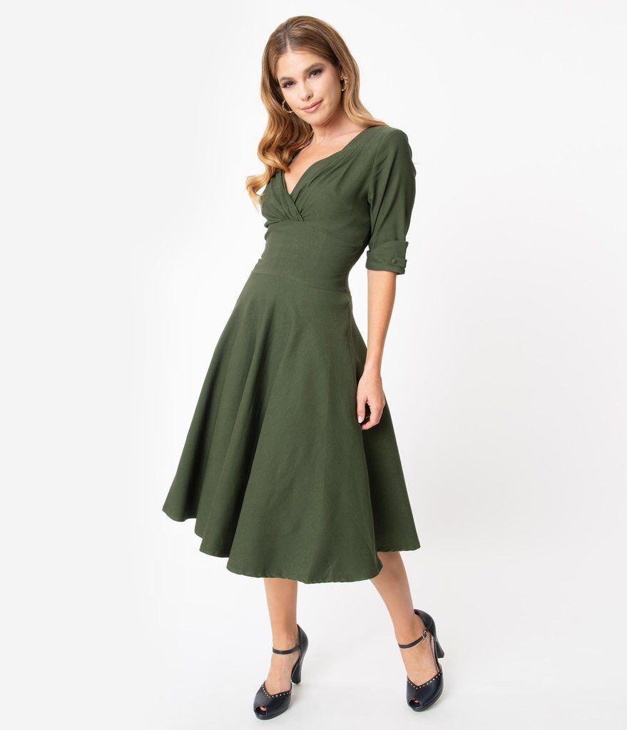 Unique Vintage 1950s Army Green Delores Swing Dress With Sleeves Swing Dress With Sleeves Vintage 1950s Dresses Unique Dresses [ 1023 x 879 Pixel ]