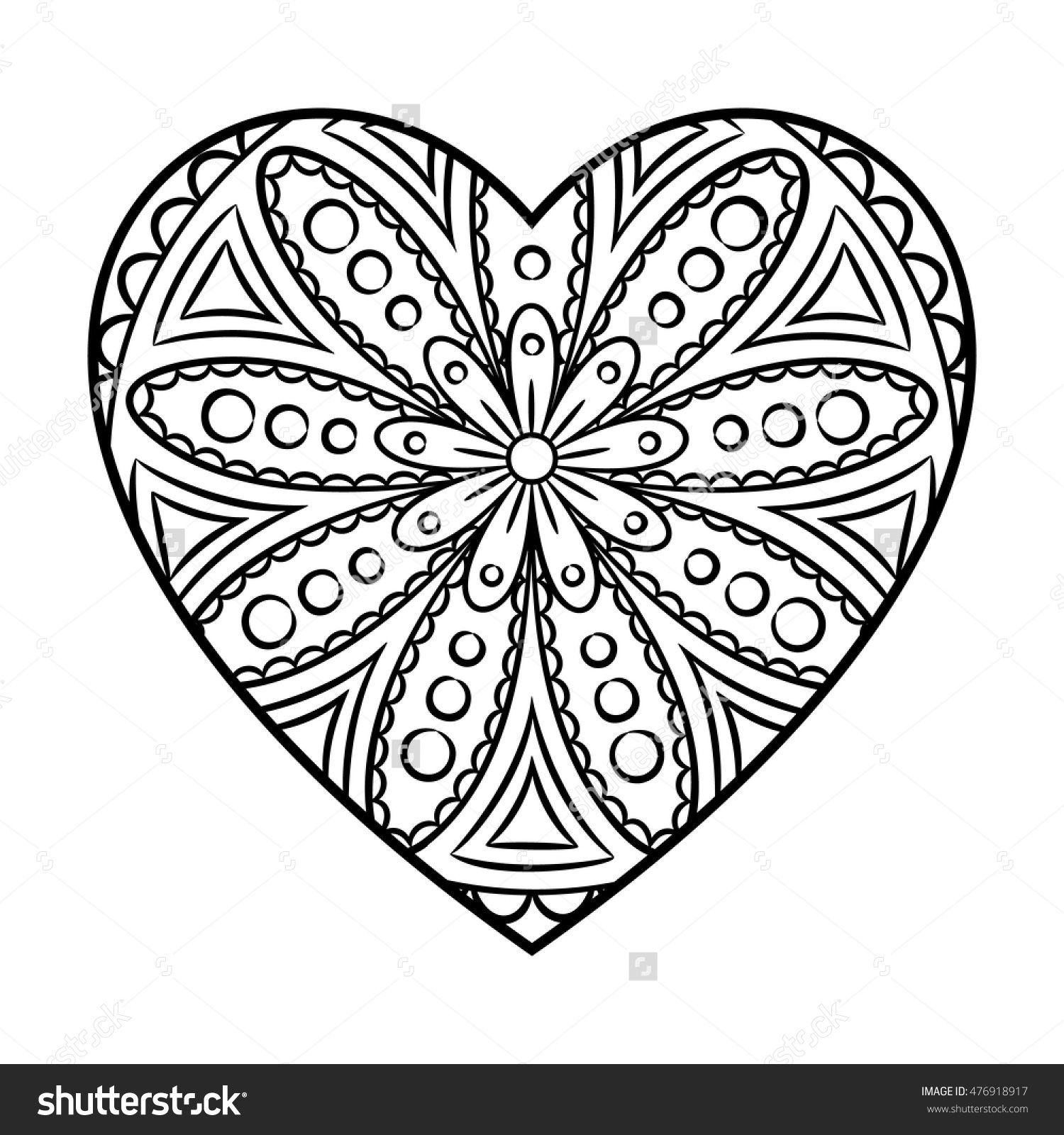 Doodle heart mandala coloring page. Outline floral design element in ...