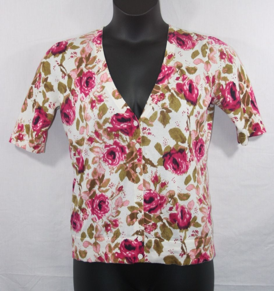 Ann Taylor Loft Floral Button Down Spring Cardigan Sweater Medium ...