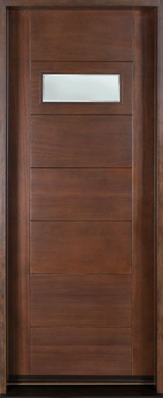 front door custom single solid wood with walnut finish modern model cst