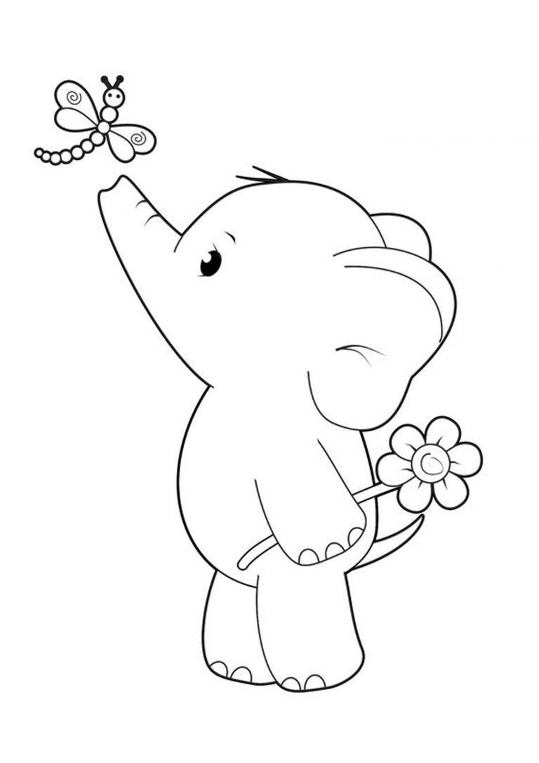 Coloring Easy Elephant Free Pages Print Elephant Coloring Pages In 2020 Elephant Coloring Page Cute Coloring Pages Dinosaur Coloring Pages