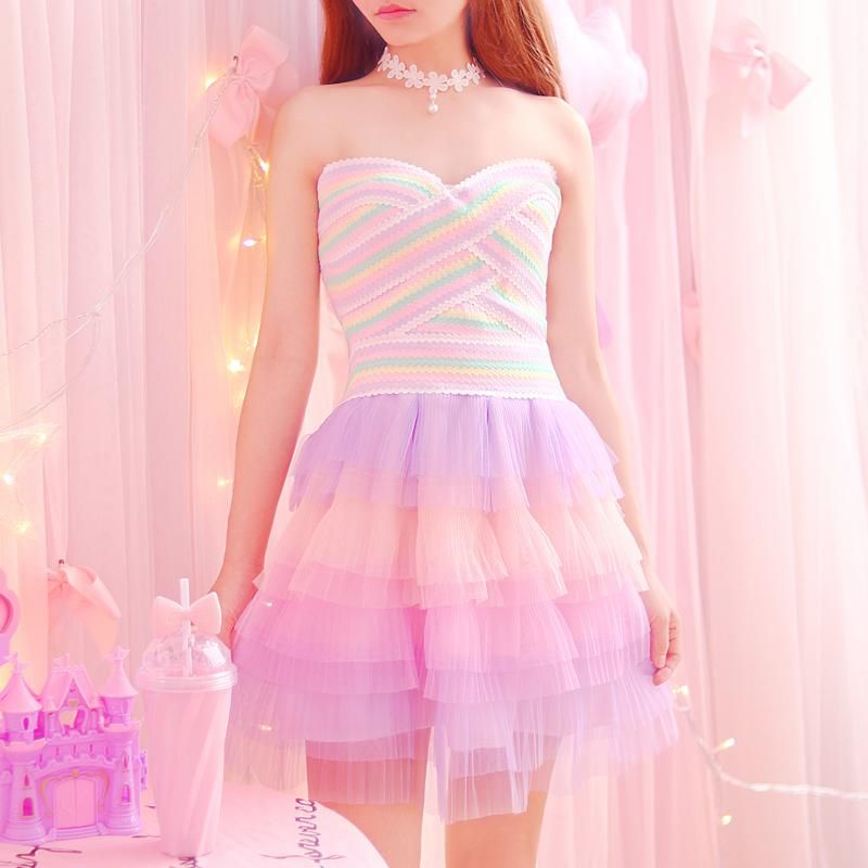 Layered Pastel Tutu Dress With Candy Colored Tube Top Perfect Fairy