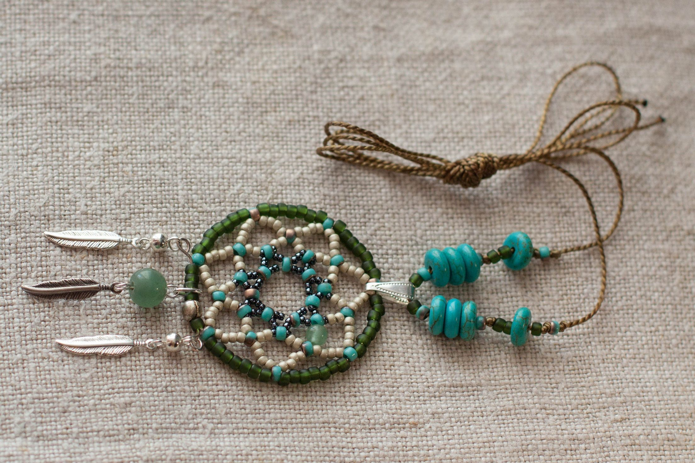 262e3df3920d5 Native american style #pendant, #Dreamcatcher beads jewelry, 2 ...