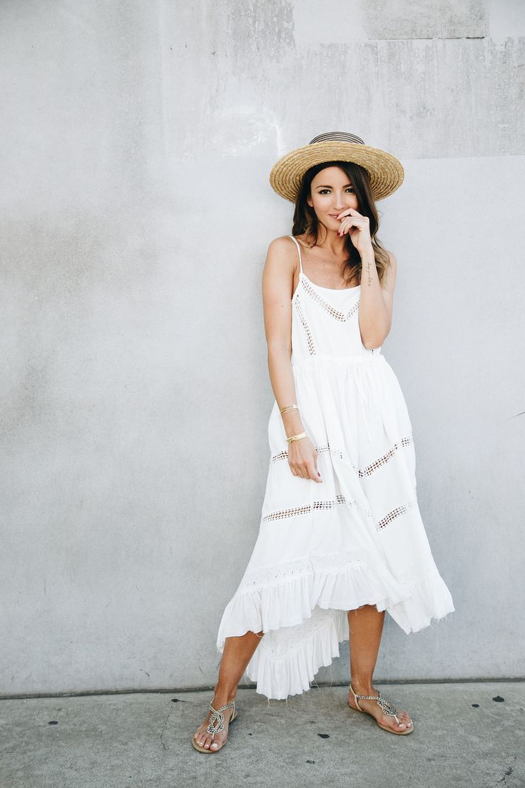 DANCING IN LA - Lovely Pepa by Alexandra. White ruffle asymmetric midi dress+embellished flat sandals+straw hat. Summer Casual Outfit 2017