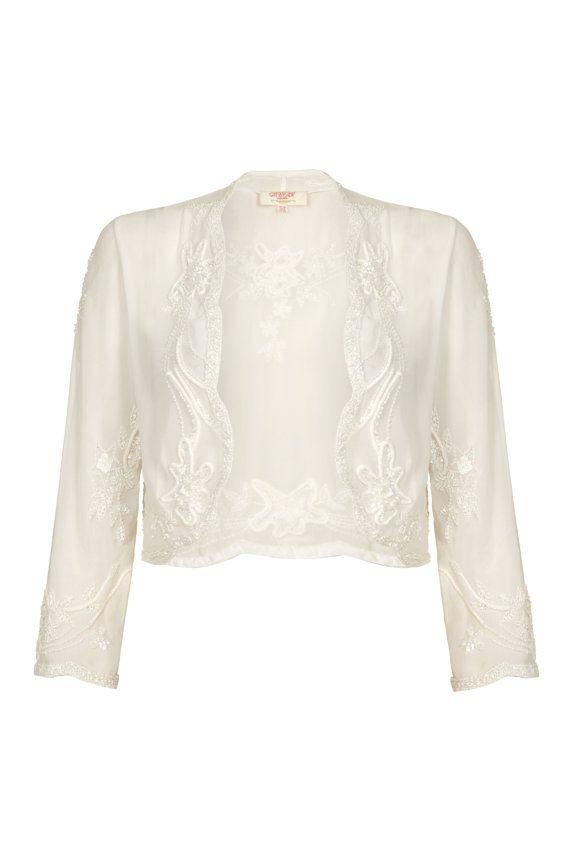 98700a38fe40 White Vintage 1920s inspired Uk6 Us2 Aus6 to Uk24 Us20 Aus26 Flapper Great  Gatsby Beaded Charleston Sequin Wedding Bolero Shrug cape Jacket