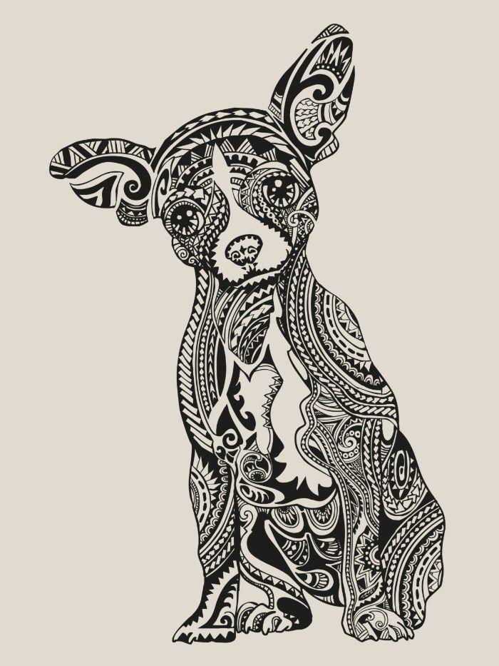 Polynesian Chihuahua Art Print   art   Pinterest   Zentangle und Bilder