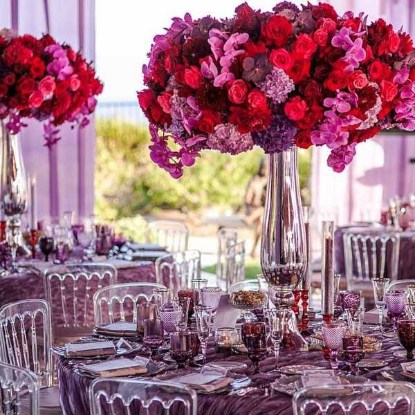 White Lilac Purple Magenta Plum And Red Vanda Orchids Hydrangea Lavender Centerpiecestall Wedding Centerpiecesfall Colorspurple