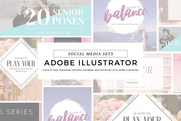 Social Media Templates Illustrator 1 by Holly McCaig Creative on ...