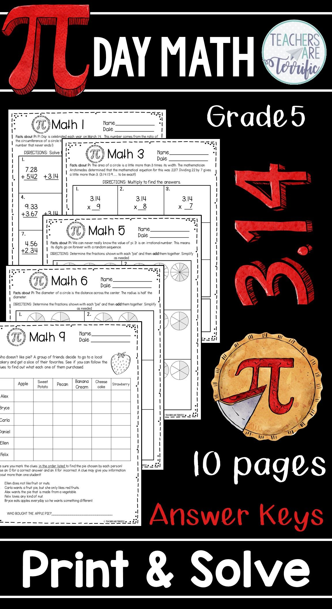 Pi Day Math Print And Solve Gr 5