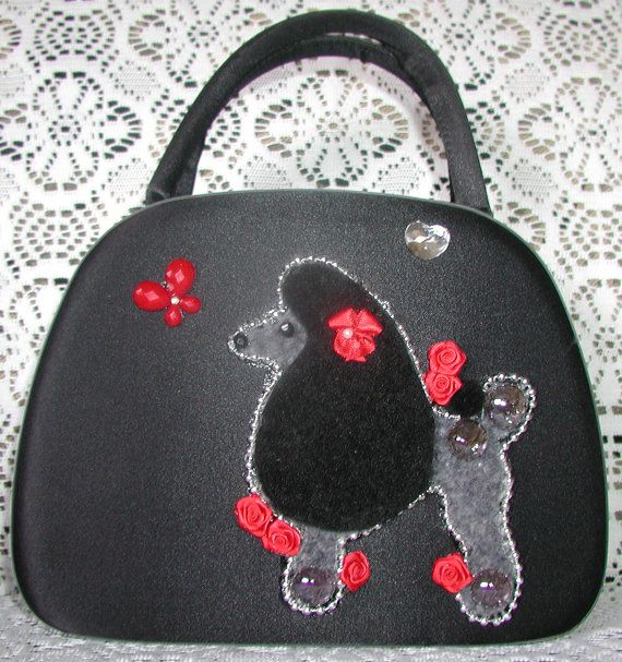 Vintage handbag with Adorable French POOdLE by LaBoutiqueSacRouge